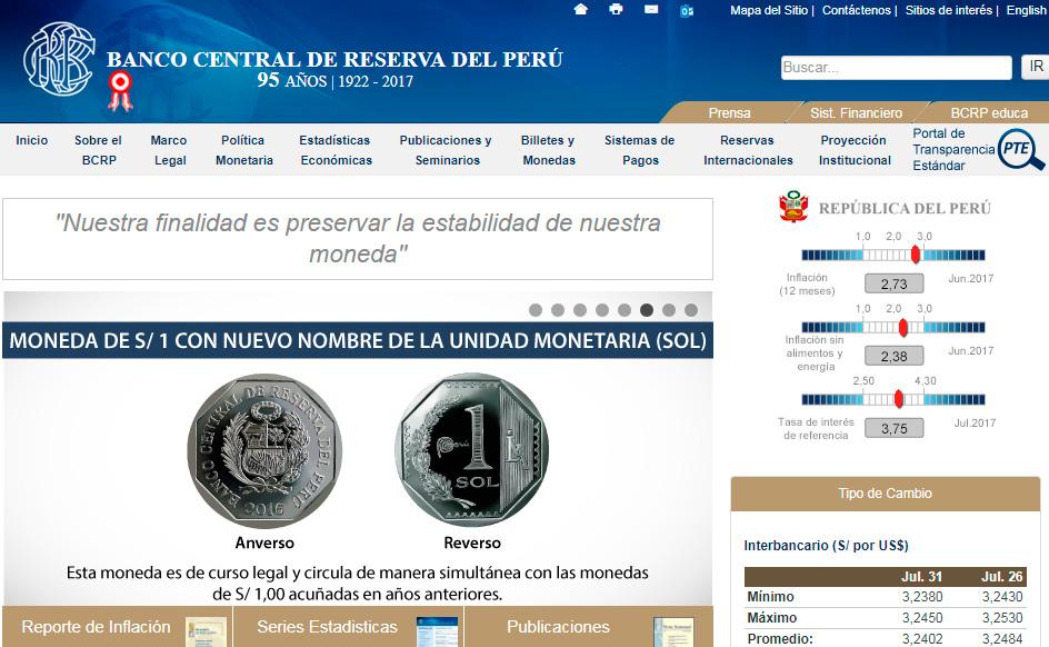Portal Banco Central de Reserva del Perú