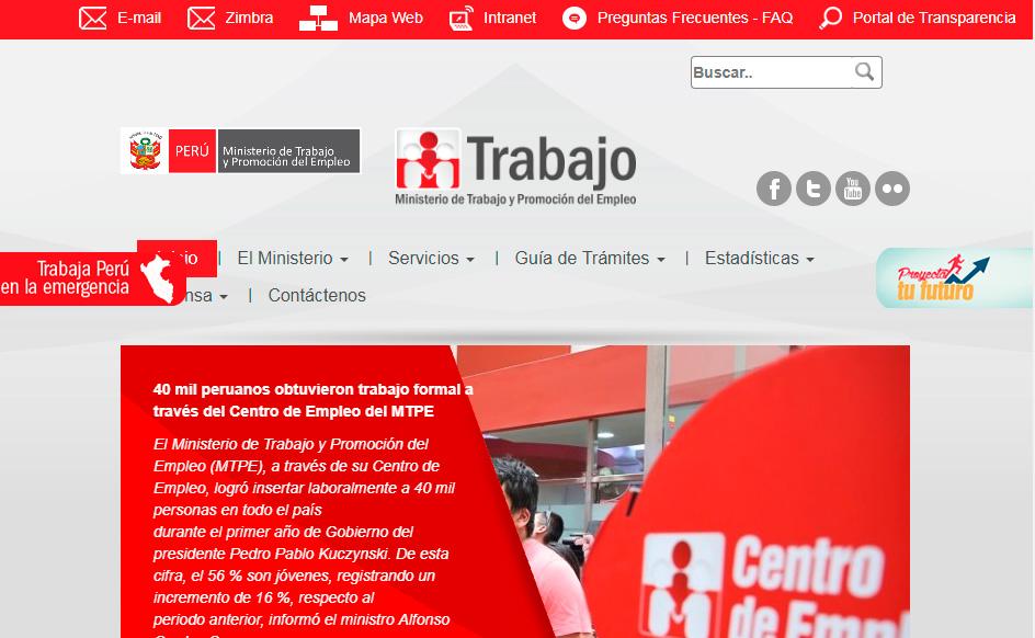 Portal del Ministerio de Trabajo del Perú
