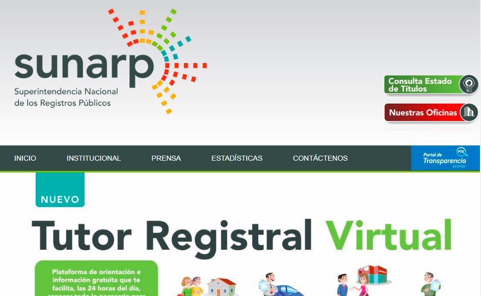 Portal de la Superintendencia de Registros Públicos